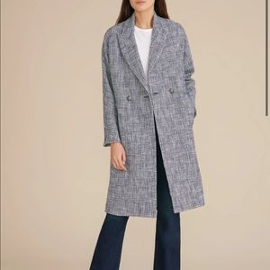 Veronica Beard Fiona Coat Blue Tweed Plaid S